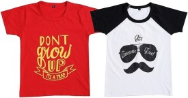 Be 13 Printed Boy's Round Neck Red, White T-Shirt Pack Of 2