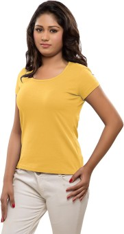 Softwear Solid Women's Round Neck Yellow T-Shirt