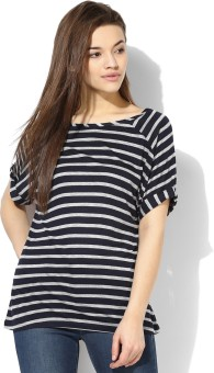 Tshirt Company Striped Women's Round Neck Dark Blue T-Shirt