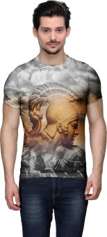 Wear Your Mind Graphic Print Men's Round Neck Grey, Brown, Black T-Shirt