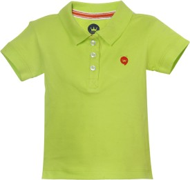 Vitamins Solid Baby Girl's Polo Neck Light Green T-Shirt
