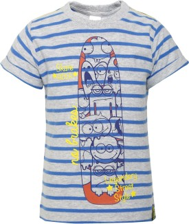 FS Mini Klub Printed Boy's Round Neck Grey T-Shirt