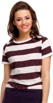 Clovia Striped Women's Henley Purple T-Shirt