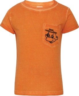 FS Mini Klub Printed Boy's Round Neck Orange T-Shirt