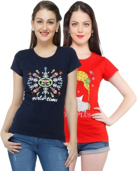 Jazzup Printed Women's Round Neck Black, Red T-Shirt Pack Of 2