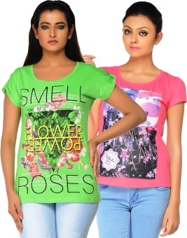 Jazzup Printed Women's Round Neck Green, Pink T-Shirt Pack Of 2