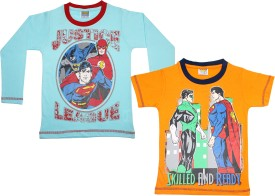 Justice League Printed Boy's Round Neck Reversible Blue, Orange T-Shirt Pack Of 2