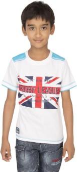 Ocean Race Printed Boy's Round Neck White, Light Blue T-Shirt