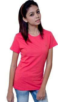 Kapdaclick.Com Pink Solid Women's Round Neck T-Shirt