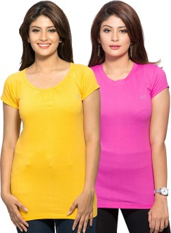 Maniac Solid Women's Round Neck Pink, Yellow T-Shirt Pack Of 2