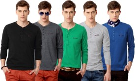 Rodid Solid Men's Henley Black, Grey, Green, Grey, Blue T-Shirt Pack Of 5