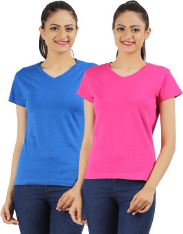 Ap'pulse Solid Women's V-neck Blue, Pink T-Shirt Pack Of 2