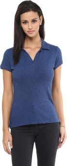 Yepme Solid Women's Polo Neck Blue T-Shirt