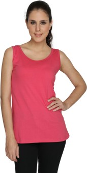 SayItLoud Plain Pink Solid Women's Round Neck T-Shirt