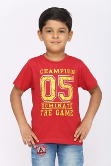 Greenwich Printed Boy's Round Neck Red T-Shirt