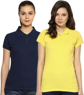 GO INDIA STORE Solid Women's Polo Yellow, Blue T-Shirt Pack Of 2