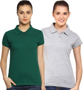 Go India Store Solid Women's Polo Neck Dark Green, Grey T-Shirt Pack Of 2