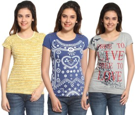 Maatra Printed Women's Round Neck Yellow, Blue, Grey T-Shirt Pack Of 3