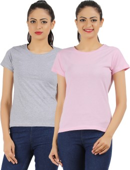 Ap'pulse Solid Women's Round Neck Grey, Pink T-Shirt Pack Of 2
