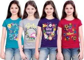 Sinimini Printed Girl's Round Neck Blue, Silver, Purple, Pink T-Shirt Pack Of 4