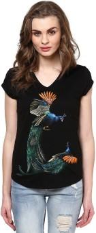 Maati Flying Peaccok Black Self Design Women's V-neck T-Shirt