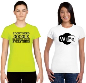 Giftsmate Printed Women's Round Neck White, Green T-Shirt Pack Of 2