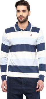 American Crew Striped Men's Polo Neck Dark Blue, Blue, White T-Shirt