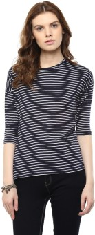 Hypernation Striped Women's Round Neck Blue, White T-Shirt
