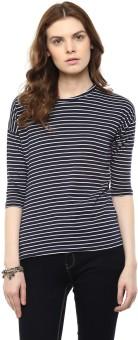 Hypernation Striped Women's Round Neck Blue, White T-Shirt