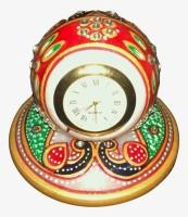 Jaipur Crafts Peacock Designed Marble Analog Clock (Multicolor)