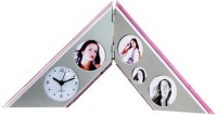 Aptron Gromo A- Type Family Photo Frame With Table Analog Clock (Silver)