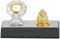 Excelencia Crystal Table With Cute Ganesha Analog Clock Gold, Silver