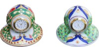 ECraftIndia Combo Of Peocock Designed Marble Analog Clock (Multicolor)