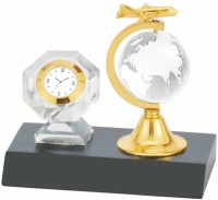 Excelencia Table With A Crystal Globe Analog Clock Gold