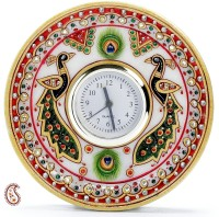 Aapno Rajasthan Peacock Motif Round Shaped Marble With Kundan Work Analog Clock (Multicolor)