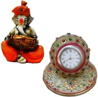 ECraftIndia Combo Of Marble Clock And Lord Ganesha Statue Analog Clock (Multicolor)