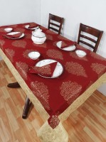 Heritagefabs Goldline 8 Seater Table Cover (Maroon, Pack Of 1)