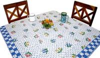 Sriam Self Design 4 Seater Table Cover (White, Blue, Cotton)