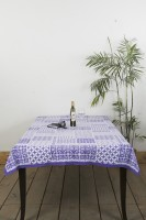 Ocean Home Store Floral 6 Seater Table Cover Purple, Cotton