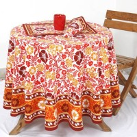 Ocean Collection Floral Print 4 Seater Table Cover Orange, Cotton