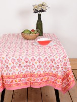 Ocean Collection Flower Print Table Cover (Pink, Pack Of 1)