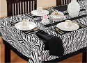 Swayam Libra Table Cover - Black, White, Pack Of 1