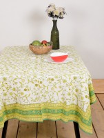 Ocean Collection Olivia Jaal Flower Print Table Cover (Green, Pack Of 1)