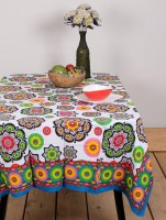 Ocean Home Store Floral 6 Seater Table Cover Multicolor, Cotton