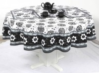 Chromatic Collection Floral Print Table Cover (Black, Pack Of 1)