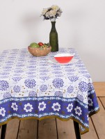 Ocean Collection Kadamba Flower Print Table Cover (Blue, Pack Of 1)
