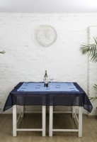 Ocean Home Store Floral 4 Seater Table Cover Blue, Cotton - TCVE9WHFMCDBT5QM