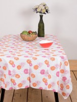 Ocean Home Store Floral 6 Seater Table Cover Pink, Cotton