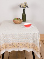 Ocean Collection Pomegranate Flower Print Table Cover (White, Pack Of 1)