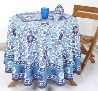 Ocean Home Store Floral 4 Seater Table Cover Blue, Cotton